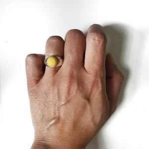 Silver Yellow Amber Ring